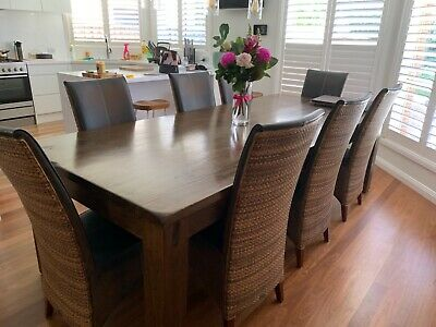 AU200 • Buy 8 X Bayside Dining Chairs / Leather And Rattan