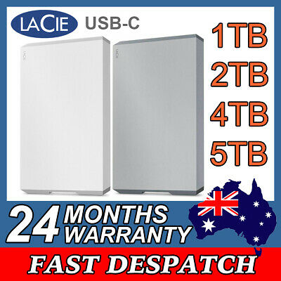 AU248 • Buy LaCie External Hard Drive USB-C Portable HDD Grey Diamond Cut 1TB 2TB 4TB 5TB 2Y