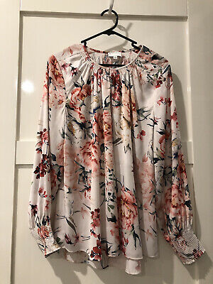 AU28 • Buy Witchery Floral Long Sleeve  Top Size 10 Worn Once