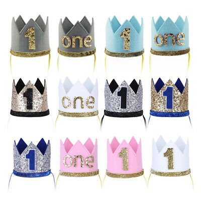 £3.15 • Buy Infant Baby Boys Girls First Birthday Party Shiny Hat Headband Crown Photo Props