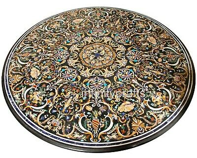 AU8078.84 • Buy 60 Inches Black Dining Table Top Round Marble Conference Table With Gemstones