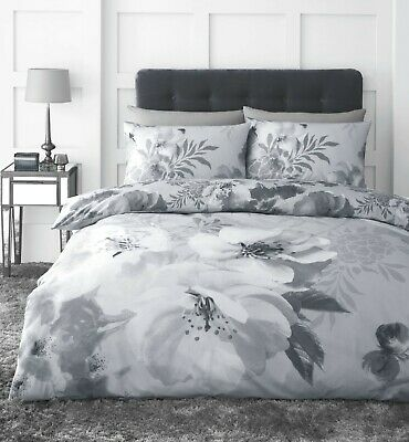 £15.29 • Buy Catherine Lansfield Dramatic Floral Easy Care Duvet Cover Bedding Set Silver