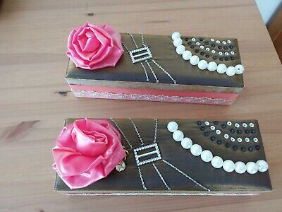 2 FABRIC AND EMBELLISHED BOARD BOXES WITH 3 COMPARTMENTS. 30cm X 10cm. • 6£