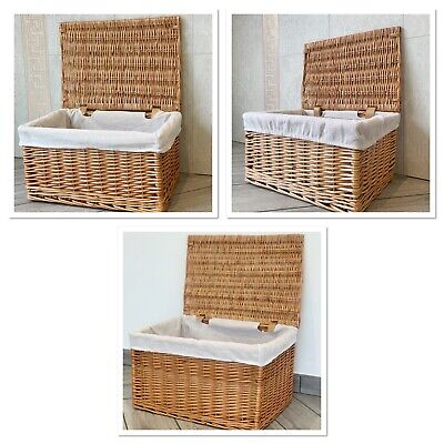 New Wicker Natural Style Baskets With Lid And Lining Hamper Storage Lined • 24.99£