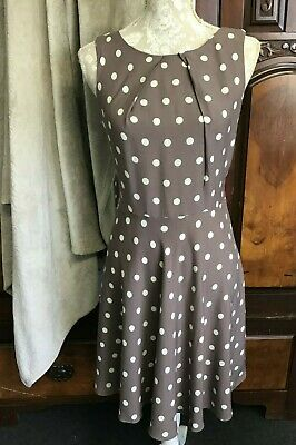 *Women's APRICOTE Brown Polka Dot Dress Size M-WI • 7£