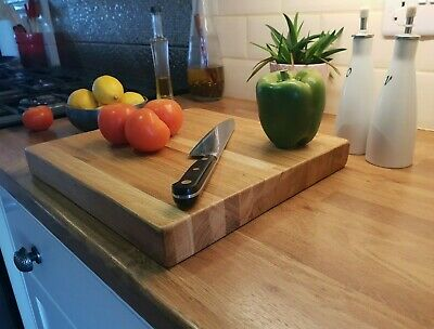 Solid Oak Chopping Board / Cutting Board / Butchers Block / Worktop Saver -Large • 41.99£