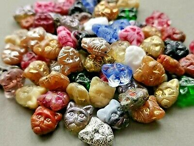 £1.89 • Buy Czech Glass Cat Head Animal Kitty Pressed Beads Mix 11 Mm Pack Of 10