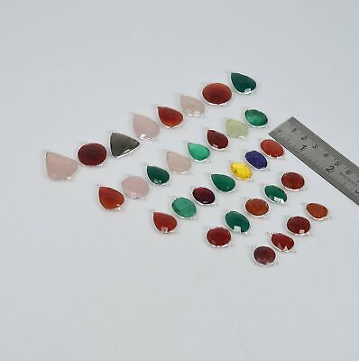 $ CDN92.29 • Buy WHOLESALE 32 PC 925 SOLID STERLING SILVER RED CARNELIAN MIX CONNECTOR LOT P218