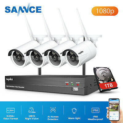 AU269.69 • Buy SANNCE 8CH NVR 1080P HD Wireless Home Security Camera System AI Human Detection