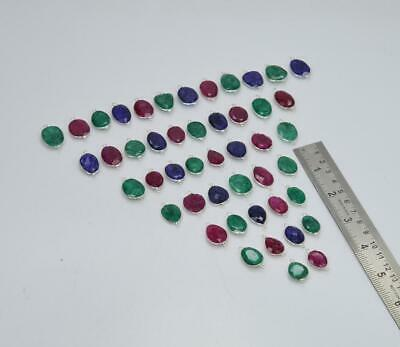 $ CDN133.89 • Buy Wholesale 47pc 925 Solid Sterling Silver Ruby Emerald Sapphire Connector Lot L67