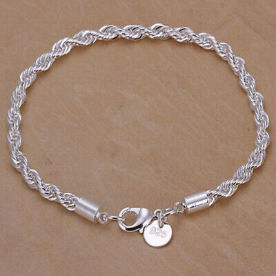 AU0.33 • Buy  Silver Tone Stainless Steel Twisted Rope Bangle Bracelet For Women Mu63