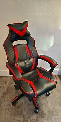 High Back Recliner Racing Style Gaming Swivel Chair With Footrest & Adjustable • 70£