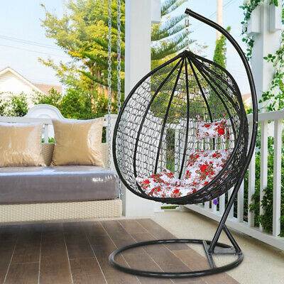 Large Garden Hanging Egg Chair Cushion Seat Rattan Weave Swing Chair Black Stand • 309.99£