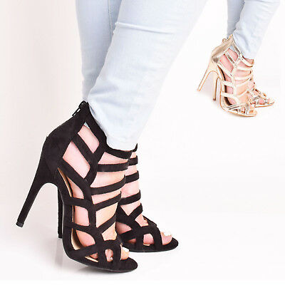 £9.95 • Buy Ladies Womens High Heel Zip Up Party Gladiator Ankle Sandal Caged Shoes Size 3-8