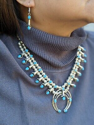 $ CDN634.34 • Buy Vintage Squash Blossom Necklace Earrings Set Turquoise Signed Navajo Jewelry