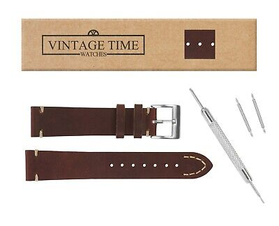 £12.99 • Buy VintageTime Watch Straps - Vintage Style Calf Leather Replacement Watch Bands
