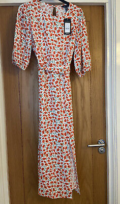 New Look Angelica Midi Dress Orange Floral Print Size 10 New Tags • 5.79£
