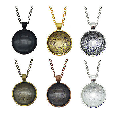 £7.23 • Buy Handmade Round Glass Cabochon And Metal Base Bezel Necklace Pendant Jewellery