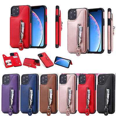 AU9.33 • Buy Premium Hybrid Zipper Leather Case Cover With Card Holder For Samsung Iphone