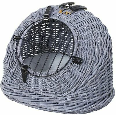 £52.99 • Buy Cat Wicker Carrier Basket Grey Vintage Style Spacious Cushion Natural Light