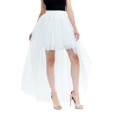 Sexy Women Tutu Short Front Long Back Pleated Swallowtailed Skirt (White) #w • 13.43£