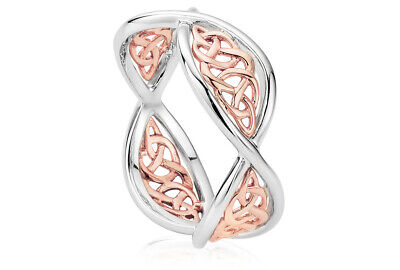 £89 • Buy NEW Official Welsh Clogau Silver & Rose Gold Welsh Royalty Ring £130 Off! SIZE J