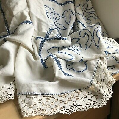INHERITED VINTAGE HANDMADE EMBROIDERED BED COVER EDGED WITH  LACE -Lovely Piece. • 8.99£