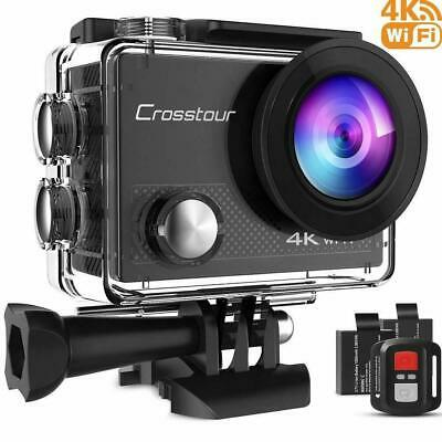 Crosstour Action Camera 4K 20MP Wifi Underwater 30M With Remote Control IP68 • 49.99£