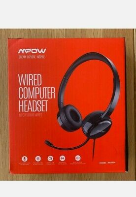NEW Mpow USB Headset 3.5mm Computer Wired For Skype Webinar Call Center • 0.99£