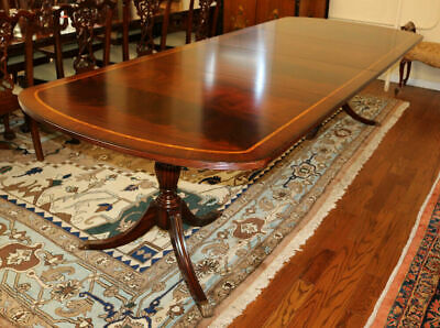 $4250 • Buy Incredible Flame Mahogany Dining Table W 2 Leaves 120 Inches X 46 Regency Style