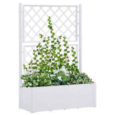 VidaXL Garden Raised Bed With Trellis And Self Watering System White Planter • 104.99£