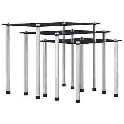 VidaXL 3x Nesting Tables Black Tempered Glass Living Room Furniture Side Table • 30.99£