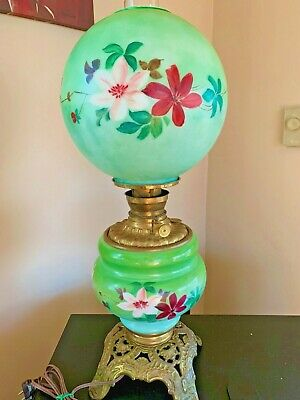 $ CDN139.56 • Buy Antique Green Gone With The Wind GWTW Oil Kerosene Lamp Converted Hand Painted