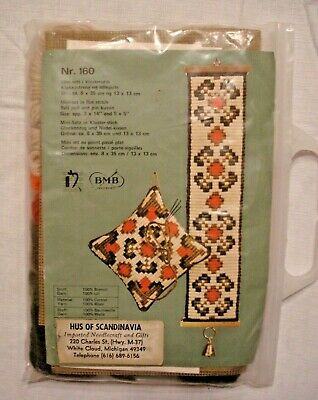 BMB Broderier Emroidery Kit Nr.160 Yarn 3x14 Bell Pull & 5x5 Pin Cushion Norway • 10.12£