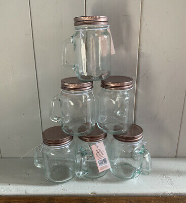 New Set Of 6 Mini Mason Jars With Rose Gold Lids And Handles Wedding Favours • 8£