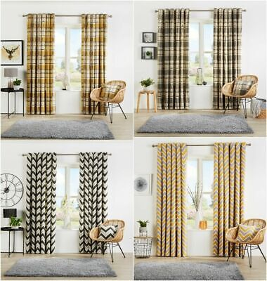 Curtain Pairs Chevron And Check Pattern Fully Lined Ready Made Eyelet Top Window • 20.99£