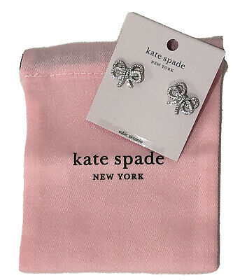 $ CDN45.74 • Buy New Kate Spade Pave Bow Silver Earrings Bow Meets Girl Double Bows Stud+Dust Bag