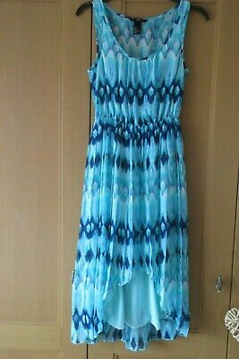 Ladies H & M  Green Pattern Long Summer Dress.  High, Low Hem Size 6 • 2£