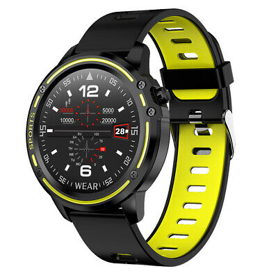 AU46.54 • Buy L8 Smart Watch Mens Fitness Tracker Heart Rate Monitor ECG PPG IP68 Yellow