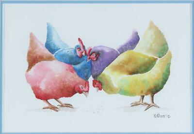 £100 • Buy Maria Moss Original Watercolour Painting Chickens Hens Signed