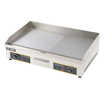 £219.95 • Buy 4.4KW Electric Griddle Catering 73cm Flat& Grooved Hotplate Countertop BBQ Grill