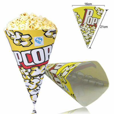 £2.99 • Buy 10/50/100pcs Cone Popcorn Paper Pack Bags Container Movie Party Cookie Supply Ba