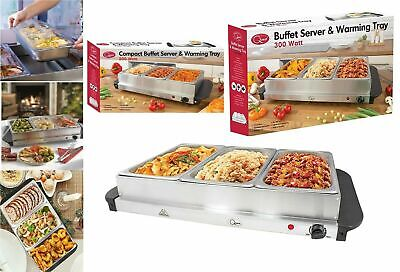 £49.99 • Buy Electric Compact Buffet Server 3 Food Warmer Trays Hot Plate Adjustable Temperat