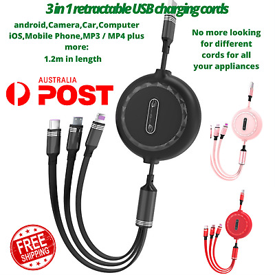 AU12 • Buy 3 In 1 Multi USB Charger Cable Cord Fit IPhone Micro USB Android Retractable