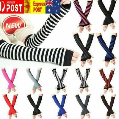 AU7.99 • Buy Striped Knitted Fingerless Thumb Gloves Arm Warmers Women Girl Mittens Sun Proof
