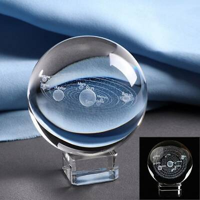 £4.95 • Buy UK 3D Solar System Crystal Ball Planets Glass Ball Engraved Globe 60MM+Stand