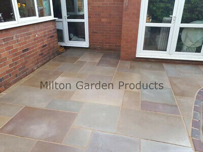 £2.99 • Buy Raj Green Smooth Sawn Honed 1m2 Mixed Size Indian Stone Patio *READ DESCRIPTION*