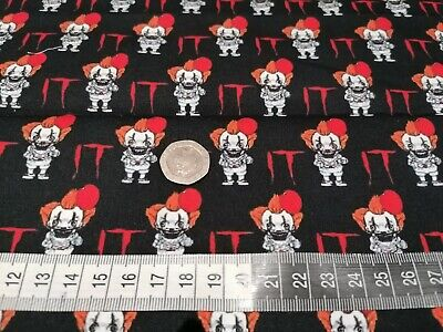 £9.99 • Buy IT The Clown High Quality Cotton Fat Quarters Perfect For Facemasks. Halloween