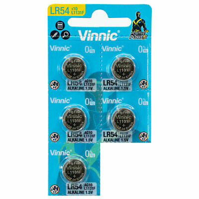 AU3.47 • Buy 5 X Vinnic LR54 Batteries L1131F AG10 Alkaline Button Cells 189 V10GA 1.5V
