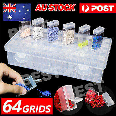 AU14.85 • Buy 64 Slots Diamond Painting Storage Box Bottles Plastic Art Nail Accessories Kit